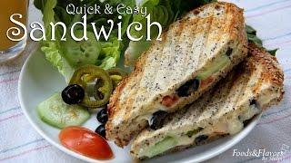 Vegetarian Sandwich Recipe   Easy Breakfast Recipes   Evening Snacks / Kids lunch box snack idea