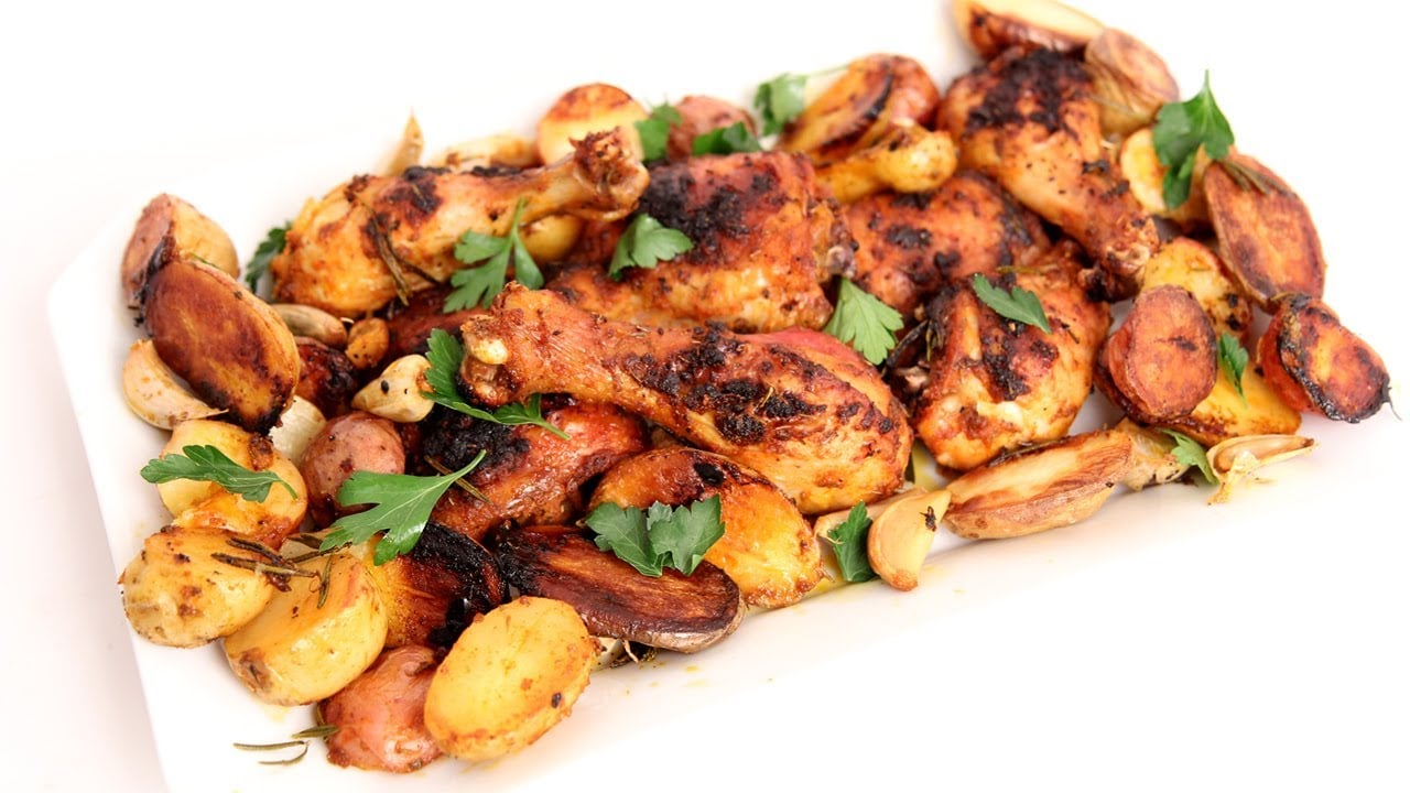One Pan Roasted Chicken & Potatoes Recipe – Laura Vitale – Laura in the Kitchen Episode 761