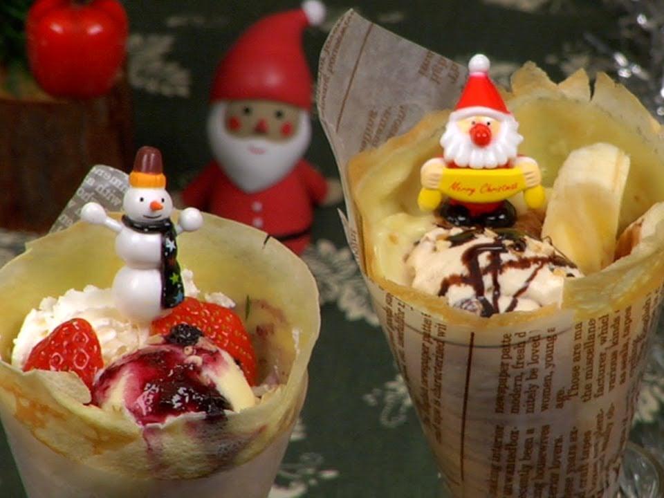 How to Make Christmas Crepes (Crêpes) クリスマスクレープの作り方