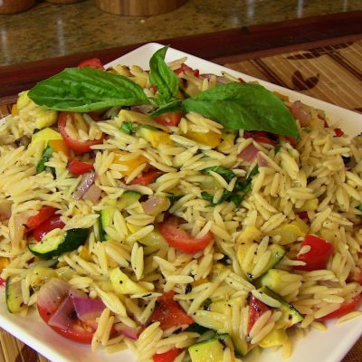 Grilled Vegetable Orzo Pasta Salad- Vegetarian Recipe  Cooking With Carolyn 