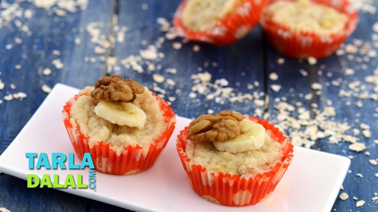 Banana Walnut Muffins (Healthy Snacks for Kids) by Tarla Dalal
