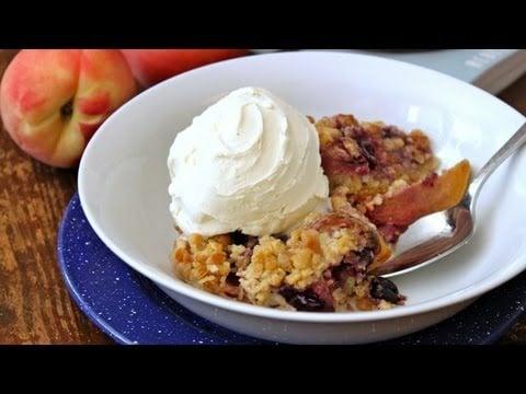FRUIT COBBLER – Crumb Topped Peach, Raspberry, Blueberry Skillet Cobbler Recipe