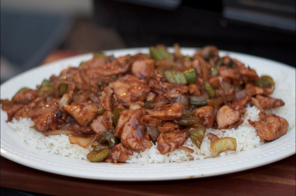 Black Pepper Chicken Stir Fry Recipe on a Weber grill