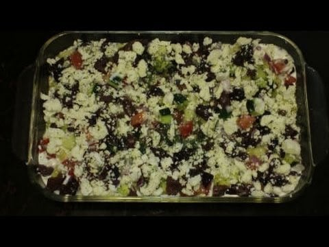 7 Layer Dip (Greek Style) – Layers of Olives, Feta, Cucumbers, and more – Party Dish or Appetizer