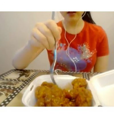 ASMR eating sweet and sour chicken eating sounds