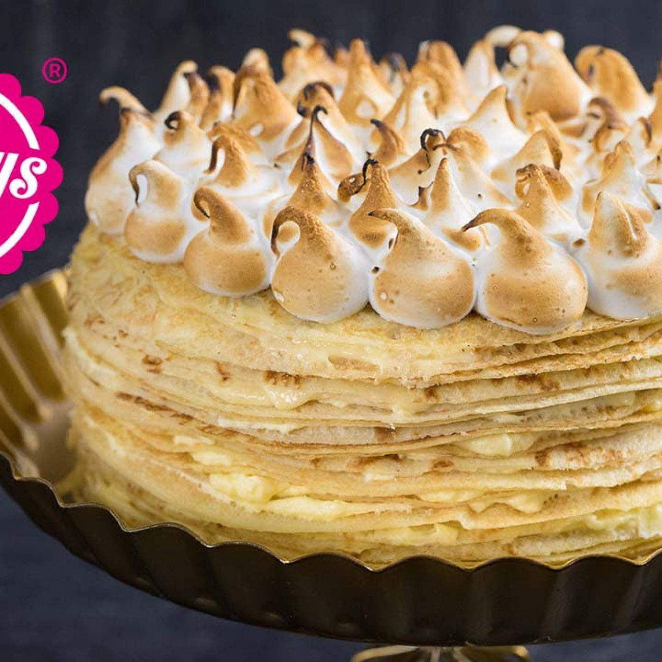 Crêpes-Torte mit Lemoncurd Füllung und Baiserhaube – Crêpes Tarte au citron