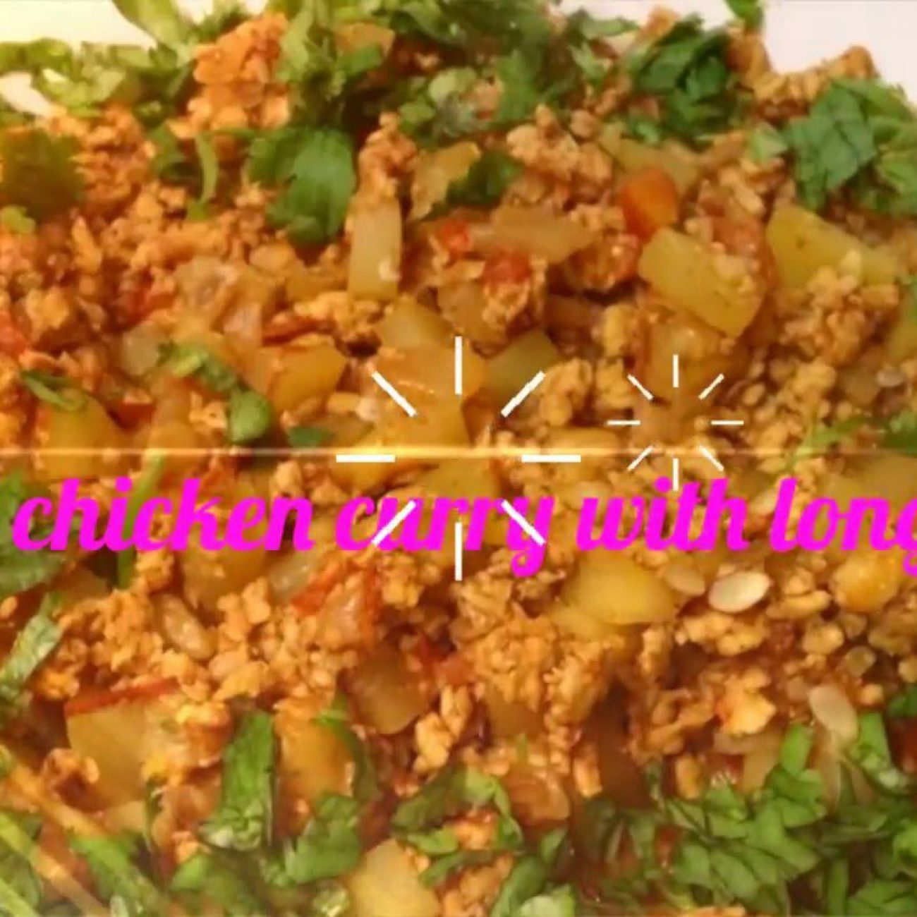 Ground chicken curry with long squash Recipe