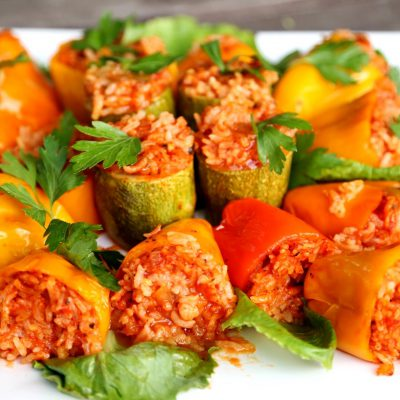 Healthy Vegan Vegetarian Dish – Rice Stuffed Bell Peppers Recipe – Heghineh.com