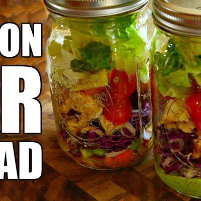 MASON JAR SALAD Recipe for Fat Loss | How To Make + 2 Healthy Dressings Green Goddess Vinaigrette